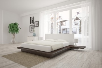 White modern bedroom with urban landscape in window. Scandinavian interior design. 3D illustration