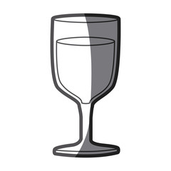grayscale silhouette of glass of wine vector illustration