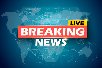 Breaking News Live, vector infographic. World Map Background. Vector Illustration.