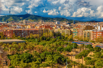 Aerial top view of Barcelona, Catalonia, Spain