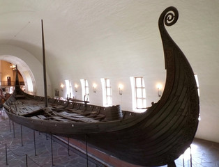 The Oseberg Ship, Well Preserved Historic ship Exhibited in The Viking Ship Museum in Oslo, Norway