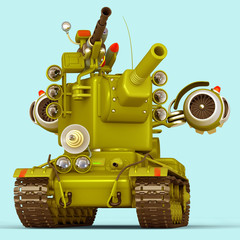Cartoon Super Tank. 3D Illustration.