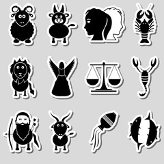 zodiac signs for astrology set of cartoon animals stickers eps10