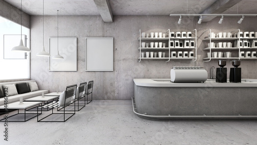 cafe shop restaurant design modern loft counter steel black top counter concreteside brick wall d render stock photo and royalty free images on - Concrete Cafe Interior
