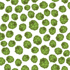Green Artichoke Seamless Pattern