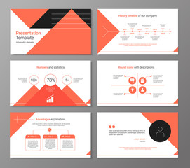 Vector presentation or brochure template with infographic elements - red and white clean design
