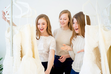 Woman choosing a wedding dress