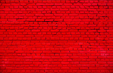Old Painted Red brick wall Background