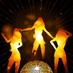 Female glowing silhouettes and disco ball