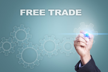 Businessman drawing on virtual screen. free trade concept