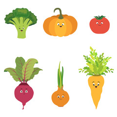 Vector set of cartoon vegetable character. Cute tomato, pumpkin, beet, broccoli, onion and carrot