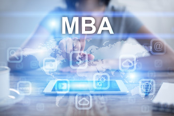 Woman using tablet pc, pressing on virtual screen and selecting mba