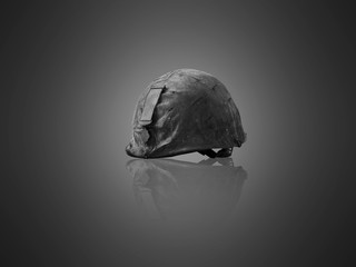 Veterans helmet, camouflage, medallion on gray background.black and white picture