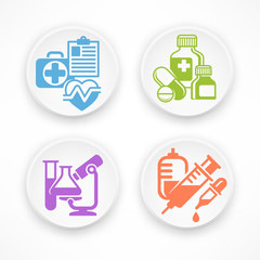 Set of medical symbols in white round icons, medicine. Vector