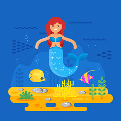 Vector flat style illustration of mermaid, coral reef, fish and sea life