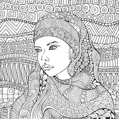 Arabic muslim woman. Hijab. Coloring book page for adult. Black and white. Doodle, zentangle style.
