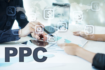 ppc on virtual screen. Business, technology and internet concept.