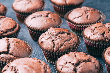 Chocolate muffins on a dark background