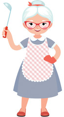 Senior lady cook in full length in an apron and with a ladle in her hand