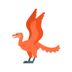 Vector flat style illustration of prehistoric animal - Archaeopteryx.
