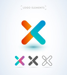 Abstract origami letter X logo template. Application icon and corporate identity set.