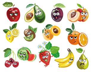 Cute Fruit characters vector