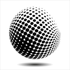 Set abstract halftone 3D spheres. Dotted spot vector design elements.