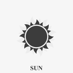Simple sun vector icon on white background.