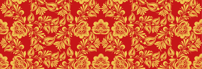 Russian national decor style, seamless pattern vector in traditional hohloma red and gold colors. Classic khokhloma ornament. Floral art