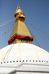 Boudhanath stupa in Kathmandu, Nepal. It is the largest stupa in Nepal and the holiest Tibetan Buddhist temple outside Tibet.