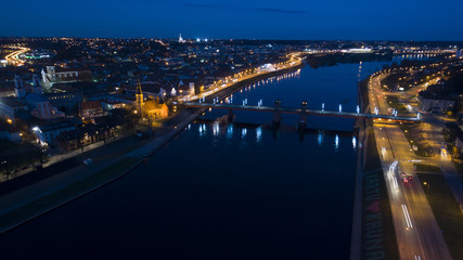 aerial view of old town of city at night