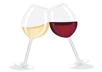 Glass of red and white wines.