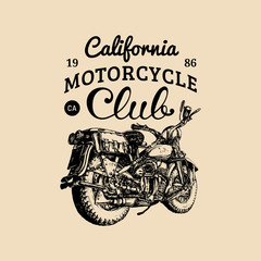 Vector hand drawn motorcycle club logo. Vintage detailed retro bike illustration in ink style for chopper company etc.