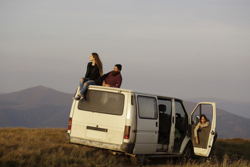 Young people travel by minibus