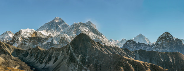 Panorama of the Gokeo region. In this picture three of the highest peaks of the World (left - right) - Everest (8848 m), Lhotse (8516 m), Makalu (8481 m). Gokyo glacier on foreground, Nepal, Himalayas
