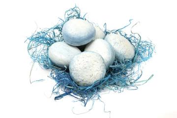 eggs in blue nest