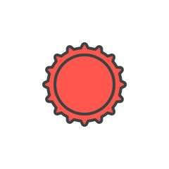 Bottle cap filled outline icon, line vector sign, linear colorful pictogram isolated on white. Symbol, logo illustration. Editable stroke. Pixel perfect