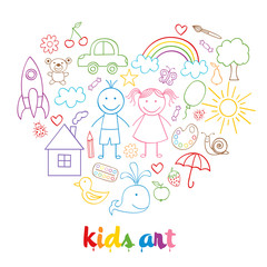 set of isolated child drawings- vector illustration, eps