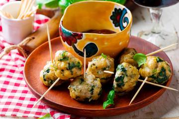 Chicken spinach meat bolls