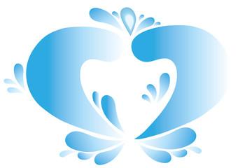 Blue water heart, vector symbol