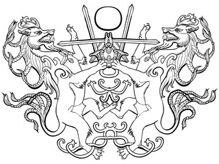 Vector illustration of coat of arms fantasy animal sword fight black and white