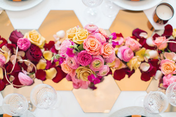 colorful city wedding table