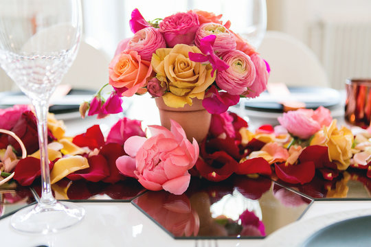colorful wedding table centerpiece
