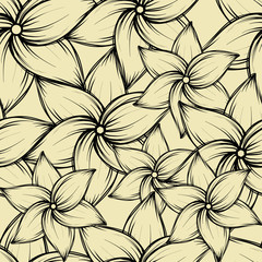 Simple seamless summer tropical background with exotic flowers, vector illustration.