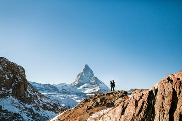 Zermatt matterhorn with couple in love