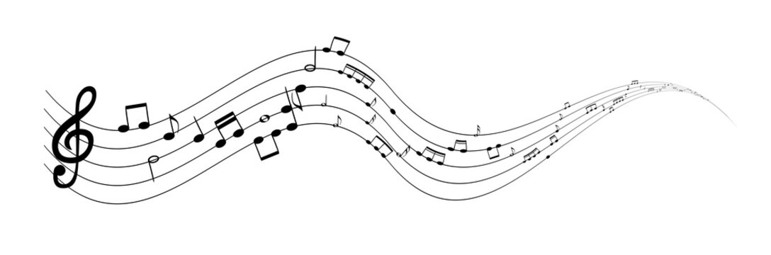 Set of musical notes on five-line clock notation without a featu