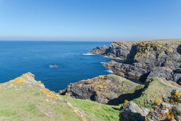 Ile de Groix in Brittany, panorama, cliffs, rocky coast
