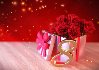 birthday concept with red roses in gift on wooden desk. eighth. 8th. 3D render