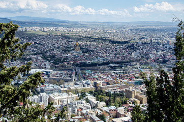 Panoramic view of Tbilisi Georgia from the top of Mount Mtatsminda.