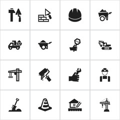 Set Of 16 Editable Structure Icons. Includes Symbols Such As Trolley, Construction Tools, Oar And More. Can Be Used For Web, Mobile, UI And Infographic Design.
